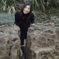 野柳地質公園-地震後被劈成兩半的蕈狀岩照片