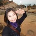 野柳地質公園-背景為鯉里石照片