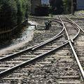 奮起湖火車站-縱橫交錯的鐵軌照片